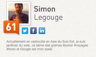simon legouge entrepreneur nomade et son klout score de 61