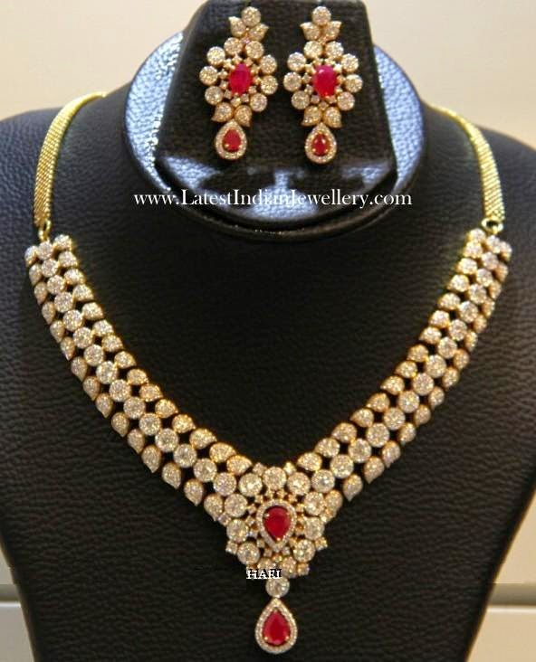 Diamond Ruby Necklace Earrings Set