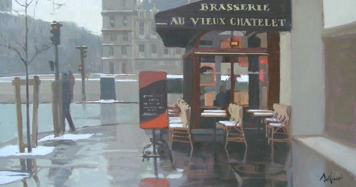 peintures de paris paintings of paris par r gis pettinari place du chatelet pluie et neige. Black Bedroom Furniture Sets. Home Design Ideas