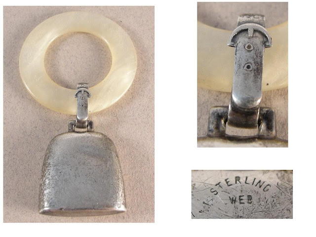 Sterling Silver Vintage 'COW BELL' Baby Rattle - Teether. c1920