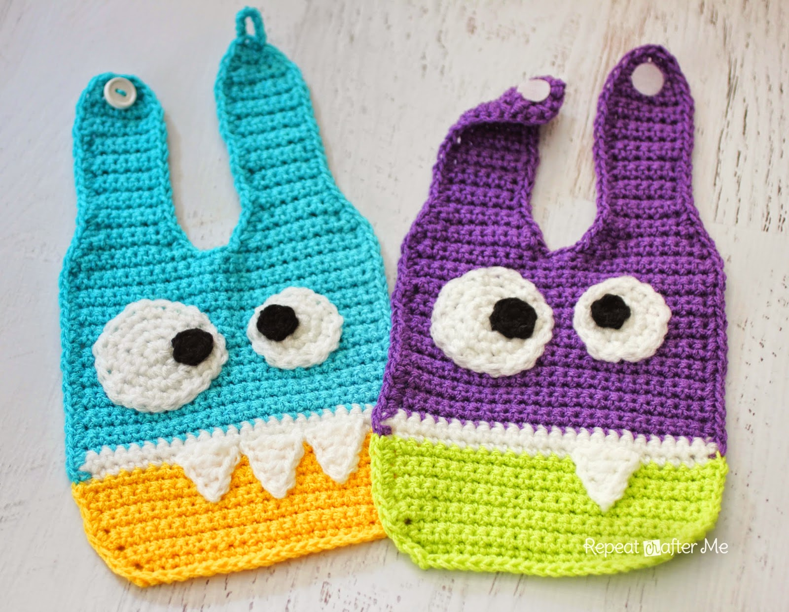 Crochet Monster Baby Bibs - Repeat Crafter Me