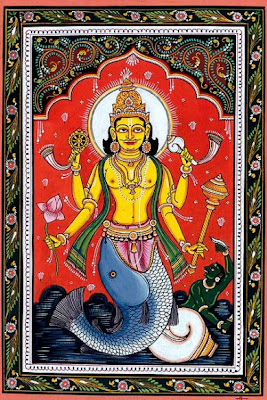 Patachitra Painting Lord Vishnu Matsya Avtar