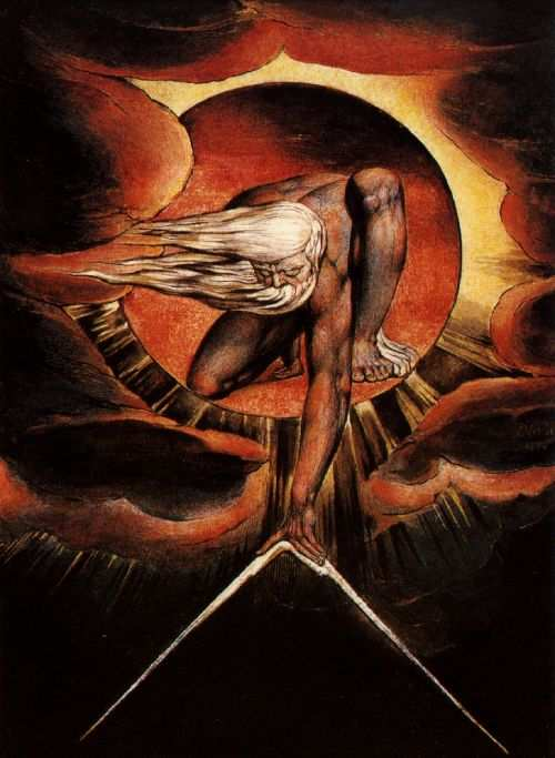 "William Blake, God designing the world from a ""Black Hole"""
