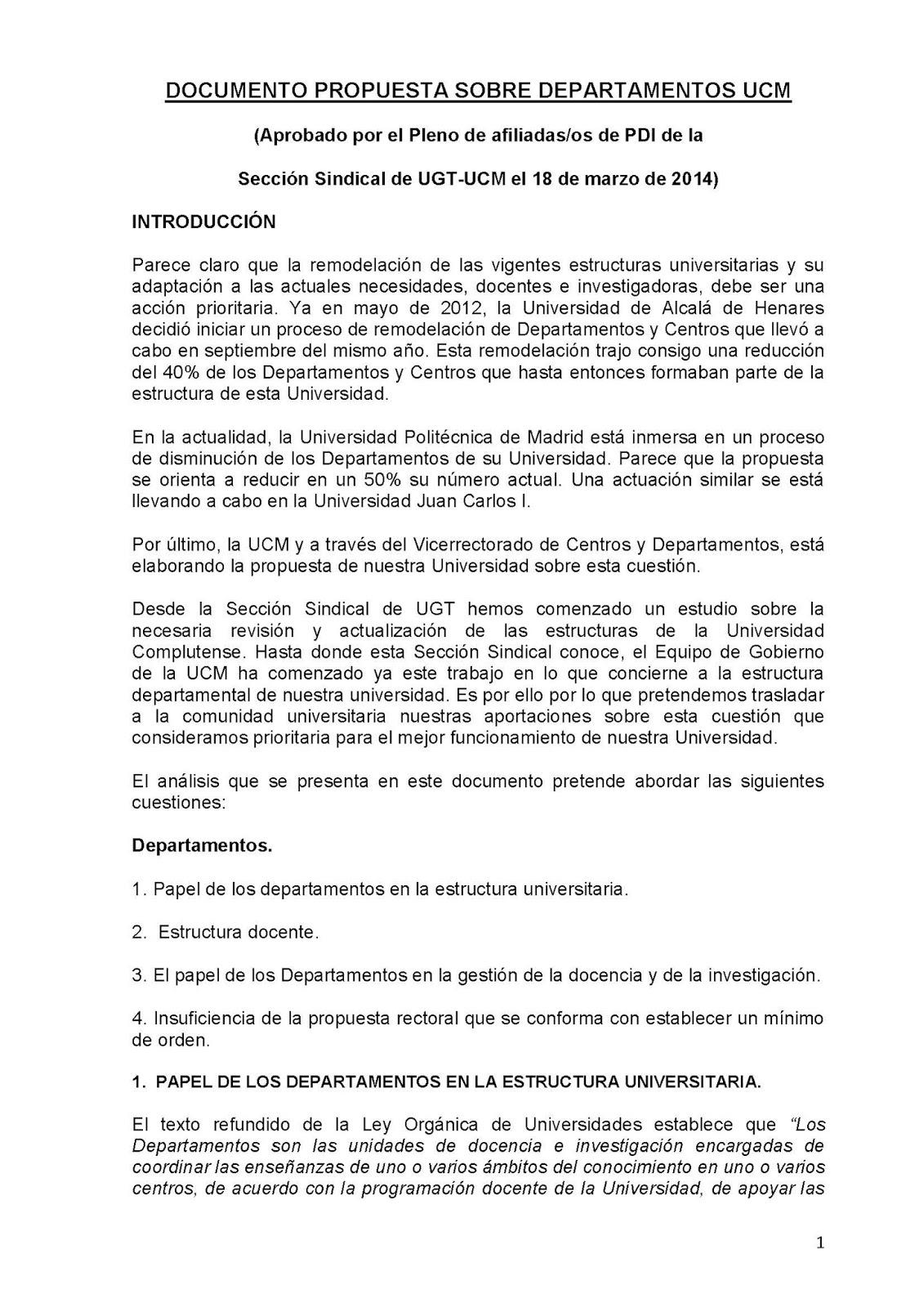 Sección Sindical de UGT en la UCM: DOCUMENTO-PROPUESTA DE UGT SOBRE ...