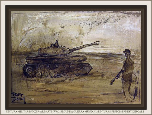 PINTURA MILITAR-PANZER-ART-WW2-ARTE-PAINTINGS-SEGUNDA GUERRA MUNDIAL-PINTURAS-PINTOR-ERNEST DESCALS