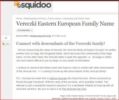 Vereczki Family Name as a Squidoo Lens