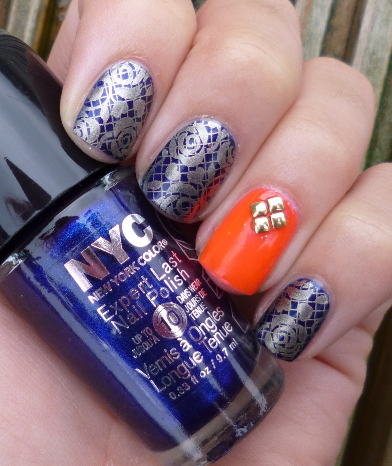 Lou is Perfectly Polished: Navy, Gold and Orange: Same Accent Nail
