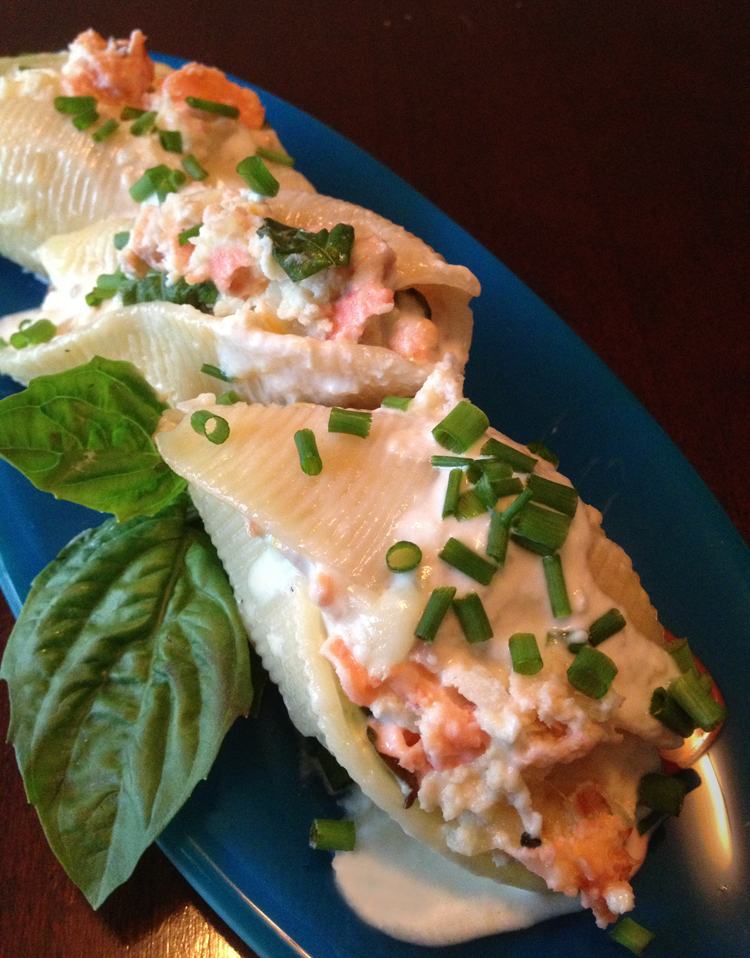 image of salmon stuffed shells drizzled with lemon cream sauce and ...