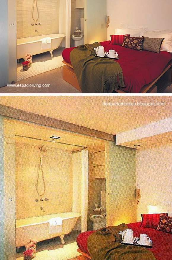 Baño integrado a un dormitorio contemporáneo