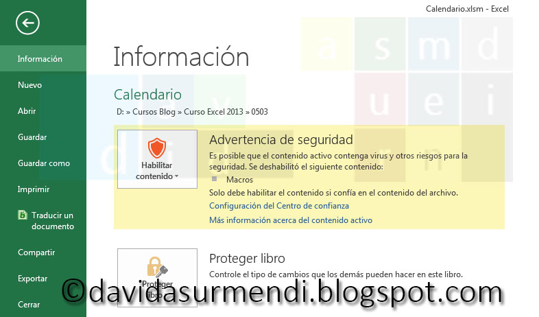 Advertencia de Seguridad en la Ficha Archivo