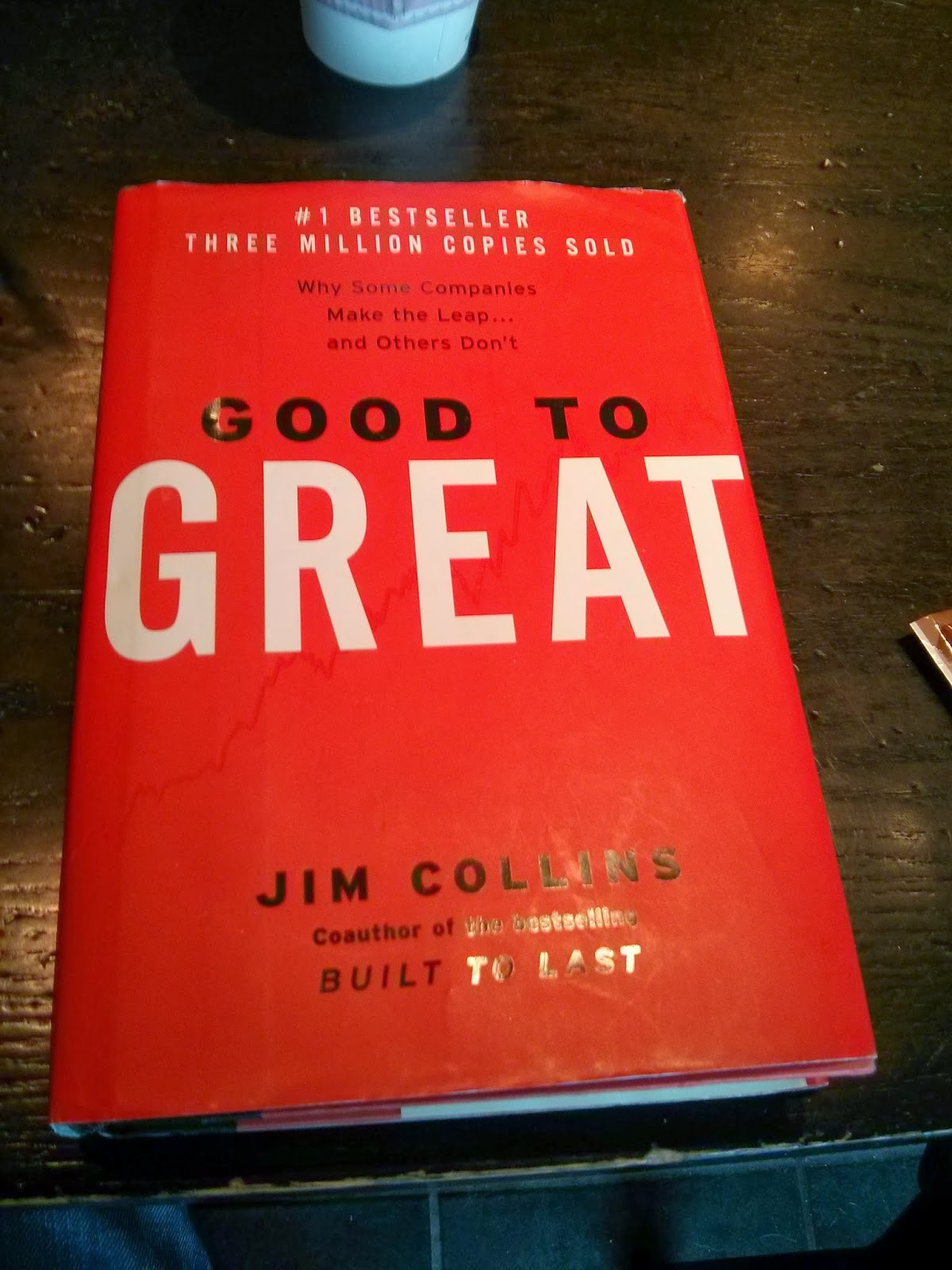 book report of good to great I have just finished good to great by jim collins and i wanted to record my reflections about the book however, i am in somewhat of a dilemma on the one hand, i really enjoyed the book and felt that many of the concepts jim talks about are values and ideas that i recognise as important in building a great business.