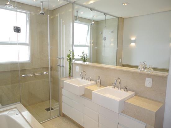 Construindo Minha Casa Clean Projeto do Banheiro Social! -> Decoracao De Banheiros Com Duas Cubas