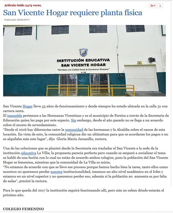"""NOTICIA!!! San Vicente Hogar en """"El Diario"""""""