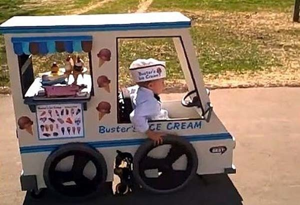 This costume a dad made for his son in a wheelchair.