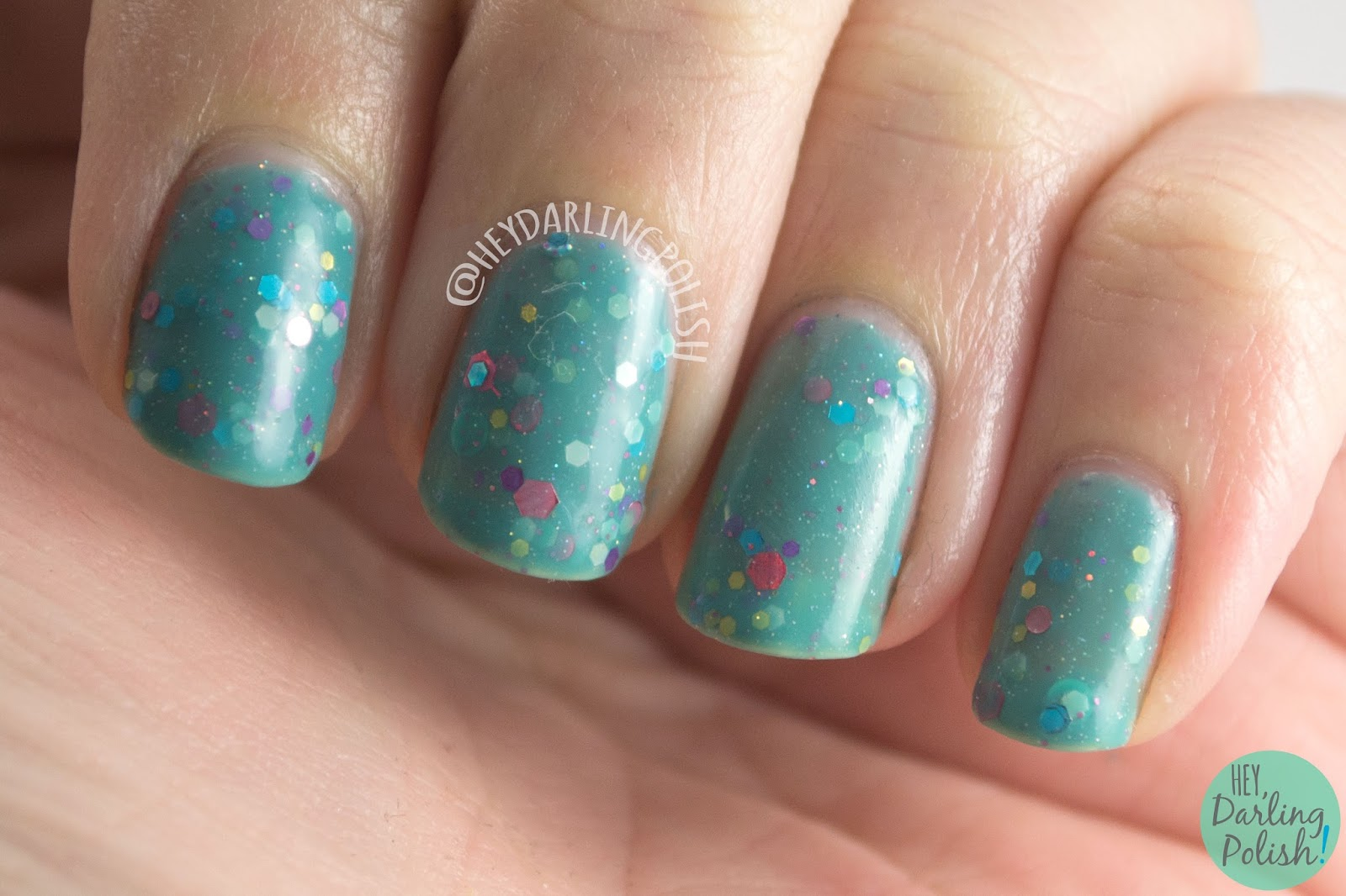 nails, nail polish, indie polish, kbshimmer, hey darling polish, glitter crelly, glitter, laugh myself lily, teal, swatch