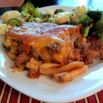 Bacon Cheeseburger Casserole:  A pasta casserole made with my favorite burger toppings.