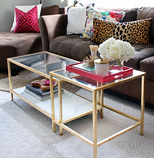the blushing bella ikea hack gold coffee table