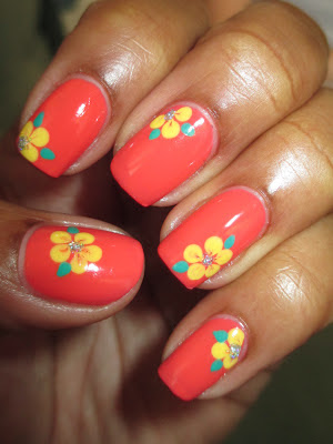 Wet n Wild, Blazed, coral, yellow, hibiscus, flowers, Hawaiian, nails, nail art, nail design, mani