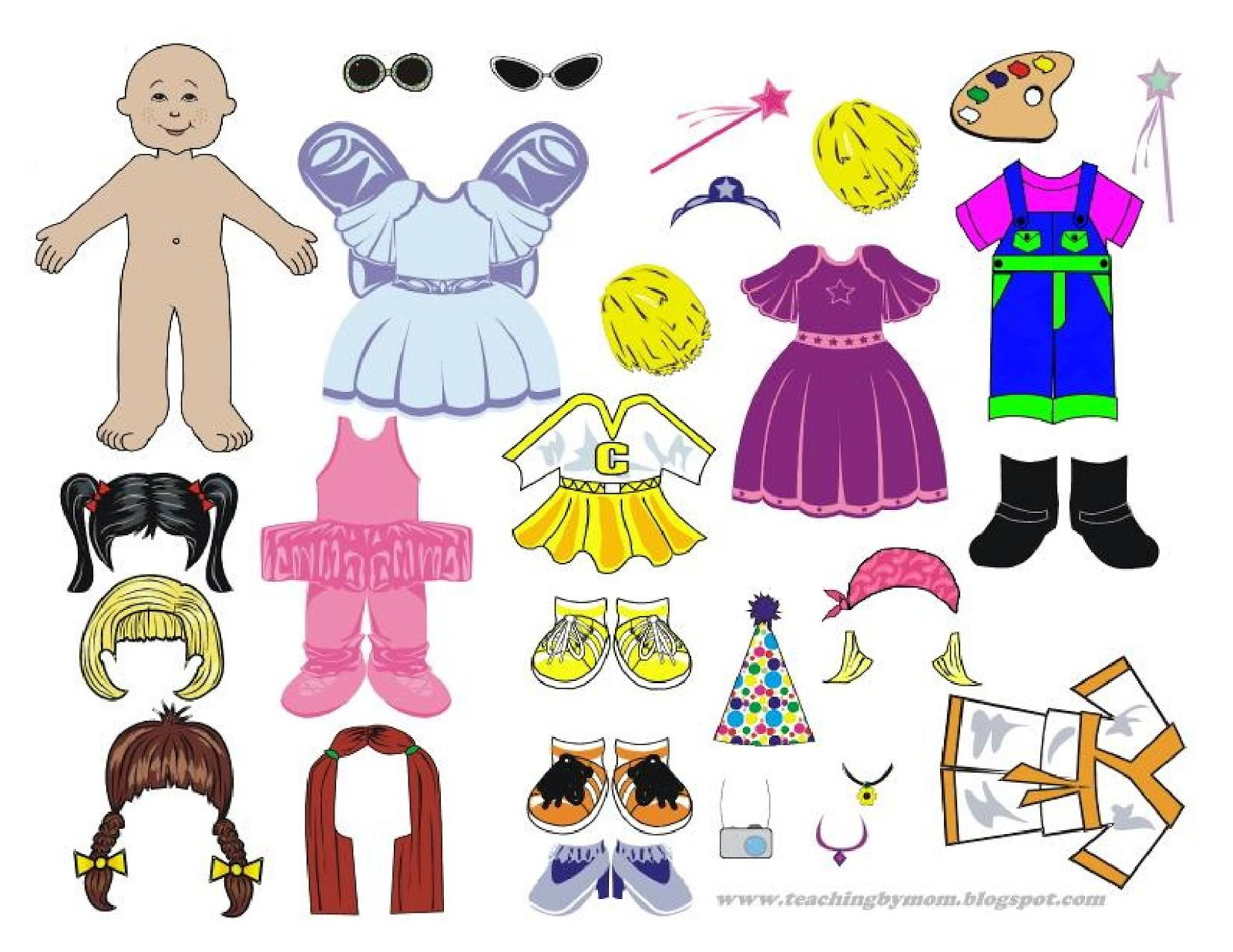 Teaching by Mom: Free Printable PAPER DOLL - Dress Up