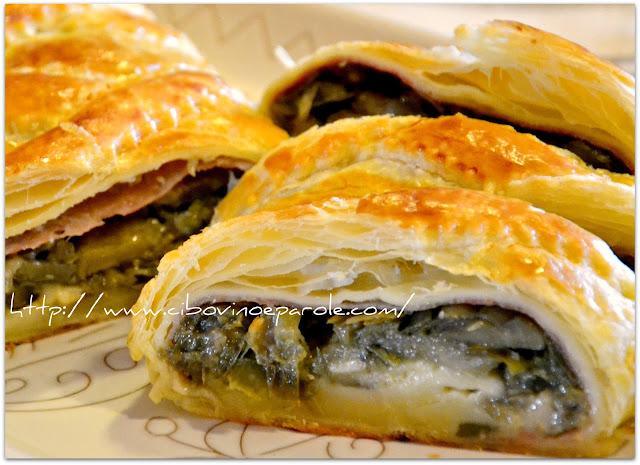 Artichoke puff pastry strudel