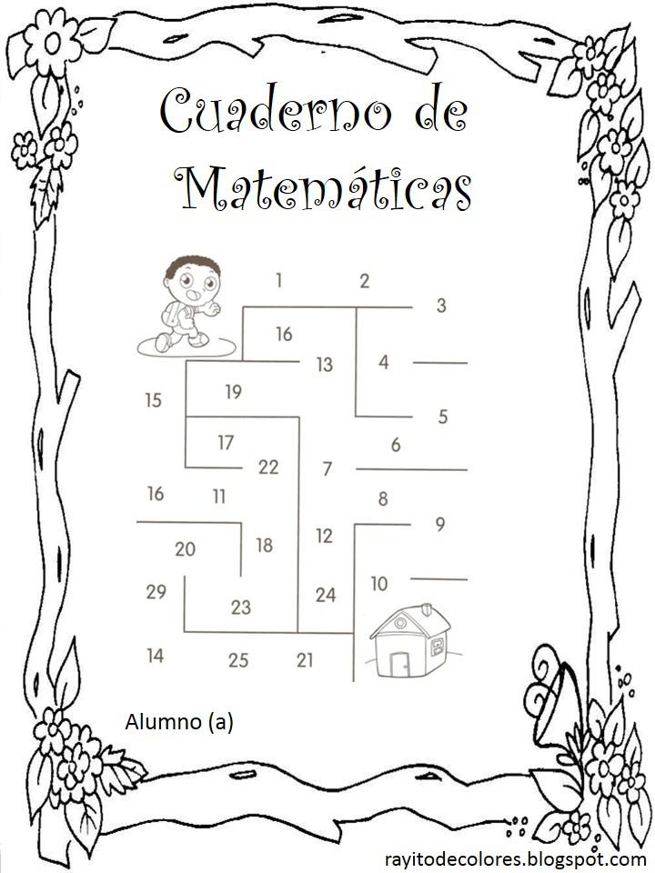 carátula escolar para matemáticas