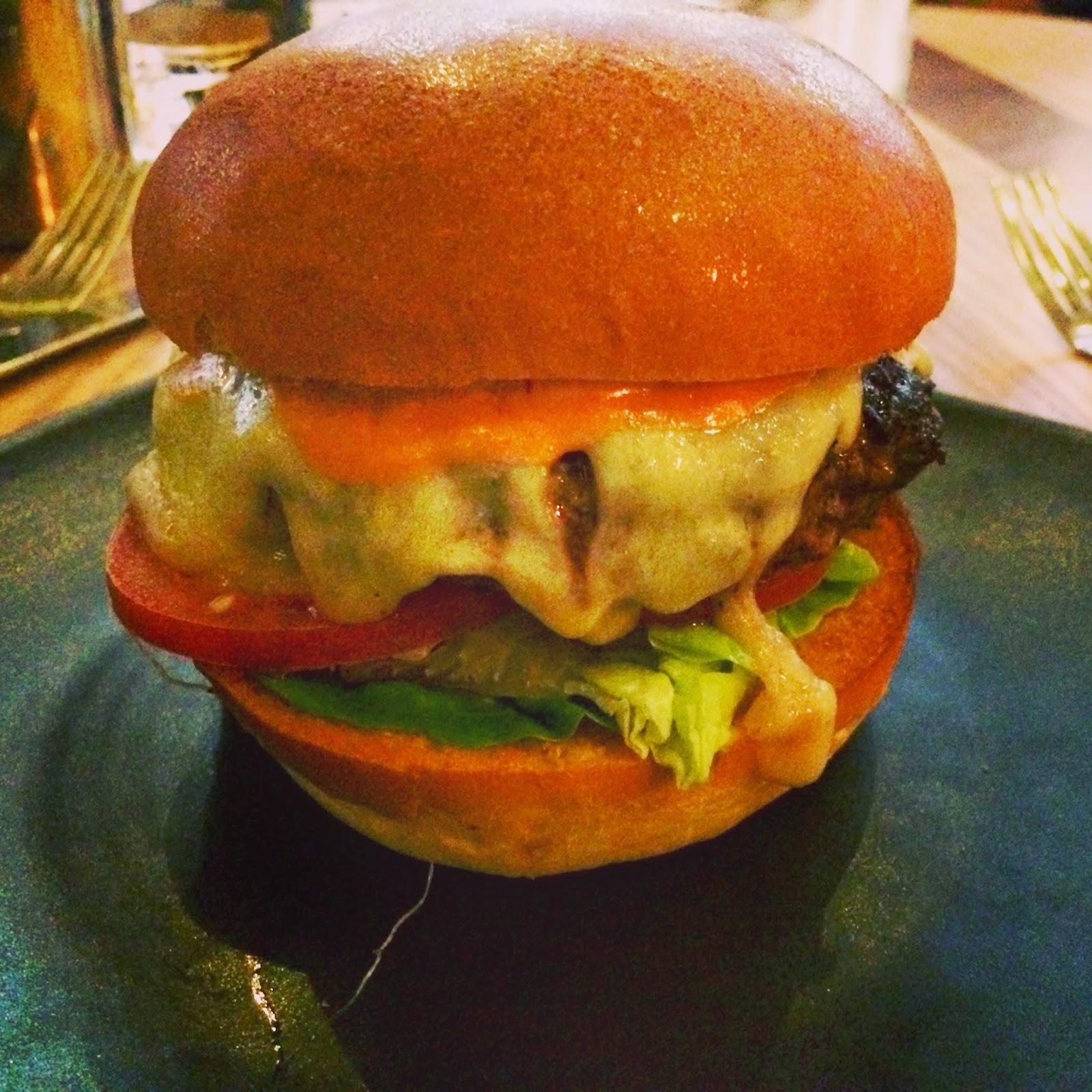 Bread Street Kitchen burger - short rib beef, Monterey Jack cheese, spicy sriracha mayo