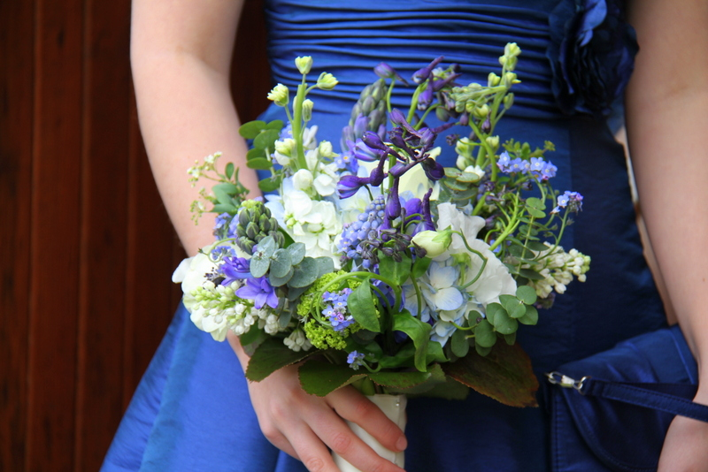 Royal Blue Bridesmaid's Gowns and vivid blue spring Bridesmaid's bouquets of