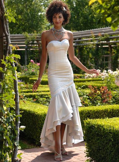 Strapless Sweetheart high low white wedding dress with beaded and ruffles