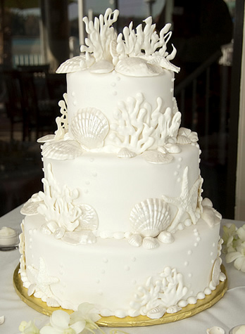 Beach Themed Wedding Cakes Seashells Starfish Reefs oh my
