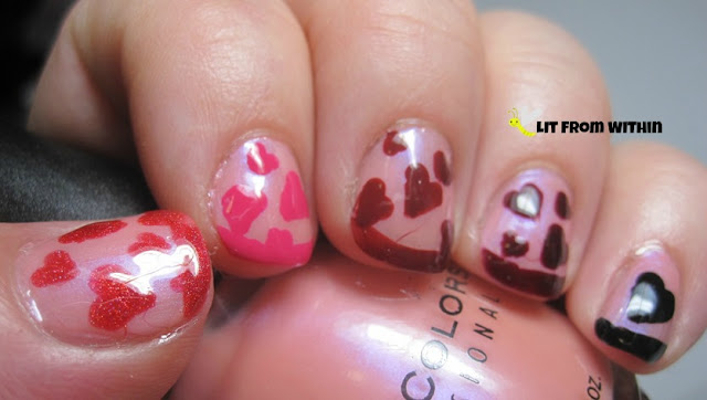 French tip ombre with hearts