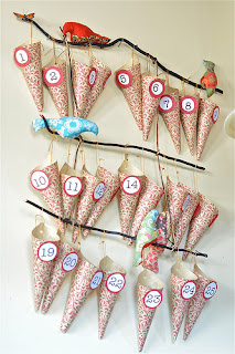 cones hanging from twigs advent calendar tutorial