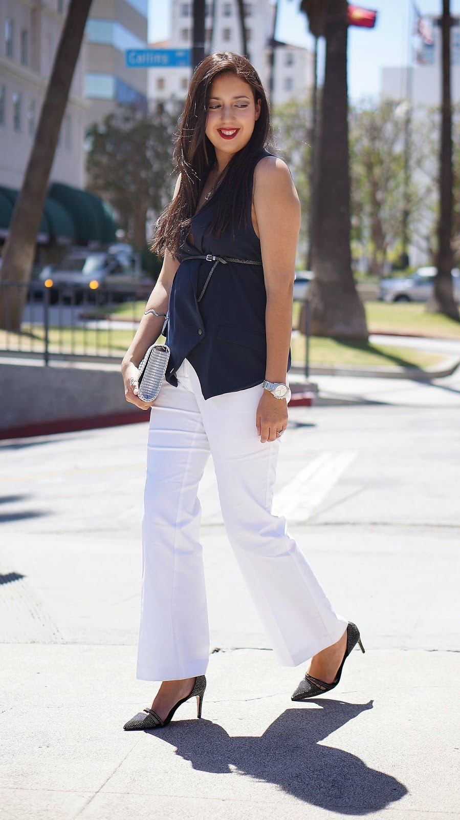 White dress pants, Worthington white pants, JCPenney pants, Navy Blue Vest, Zara heels, Fashion blogger, Style, City Chic,