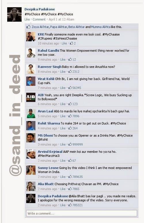 Deepika My Choice Funny Twitter Facebook