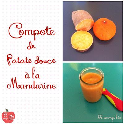 Compote de patate douce à la mandarine recette pour les bébés à partir de 6 mois proposée par BB mange bio bébé mange bio