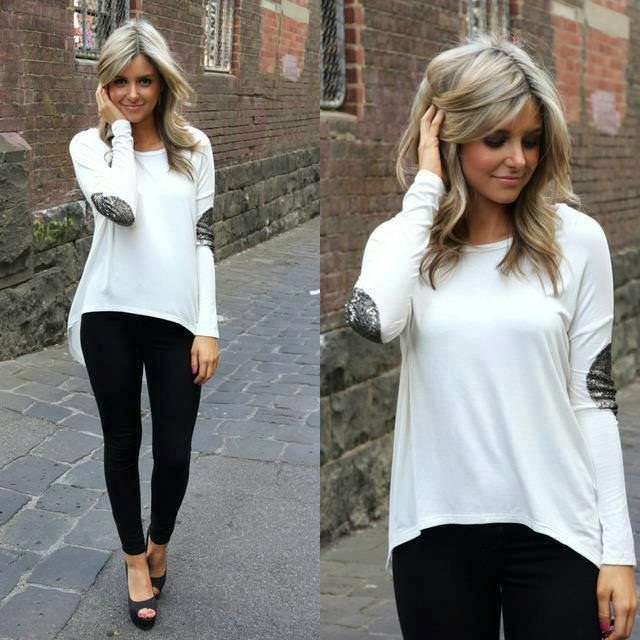 White shirt with silver patch and black leggings fashion