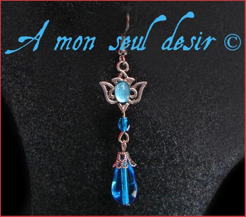 boucles oreilles bijou elfique elfe fée bleu turquoise azur blue fairy elven earrings