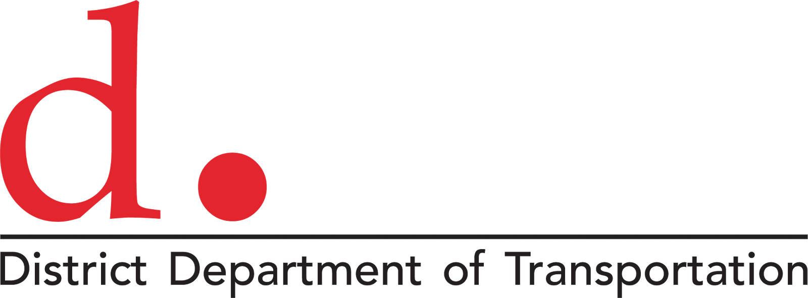 "District Department of Transportation Logo showing a red letter D and a large dot atop a horizontal line and the words ""District Department of Transportation"" below"