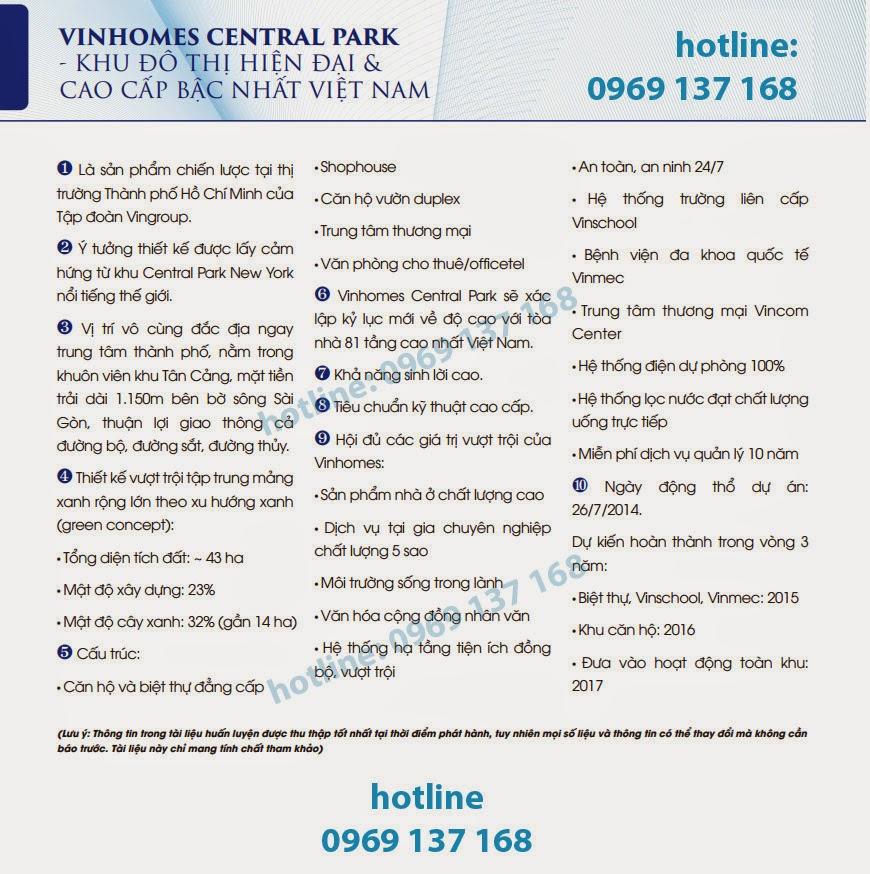 THÔNG TIN CƠ BẢN VỀ VINHOMES CENTRAL PARK