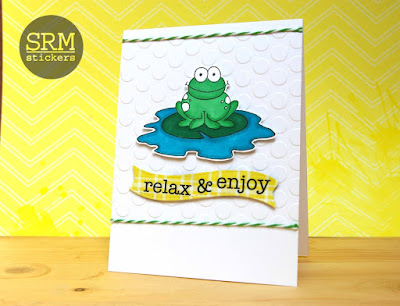 SRM Stickers Blog - Summery Frog Card by Lorena - #card #summer #janesdoodles #clearstamps #stickers #twine