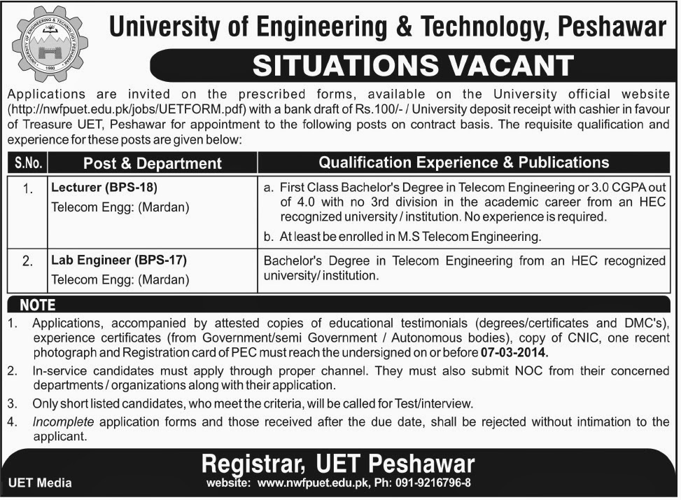 Lecturer and Lab Engineer Jobs in University of Engineering & Technology, Peshawar