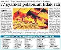 Bank Negara Malaysia - 77 Syarikat Pelaburan Tidak Sah