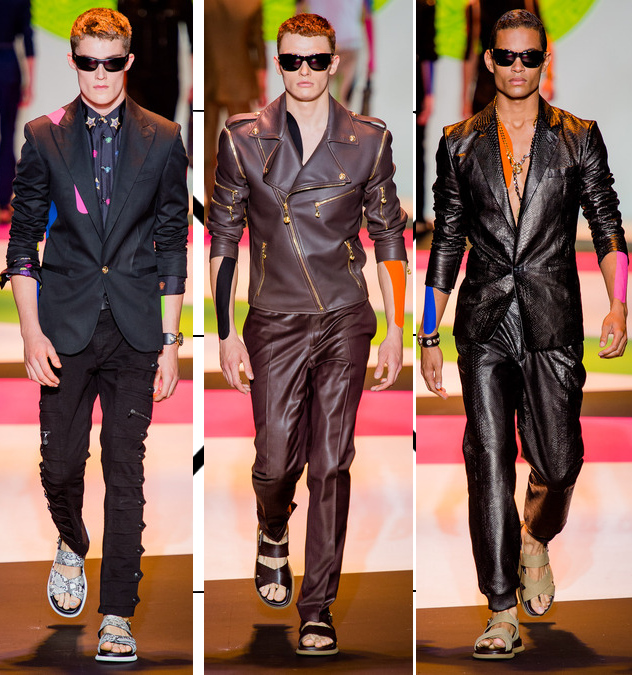 versace mens spring 2014 leather biker jackets