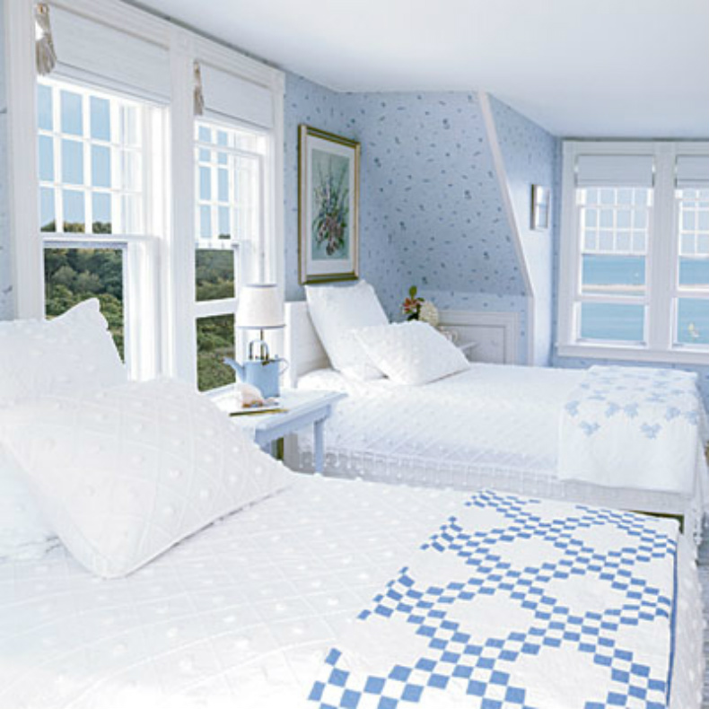 Coastal home inspirations on the horizon coastal bedrooms - Bedrooms in blue and white ...