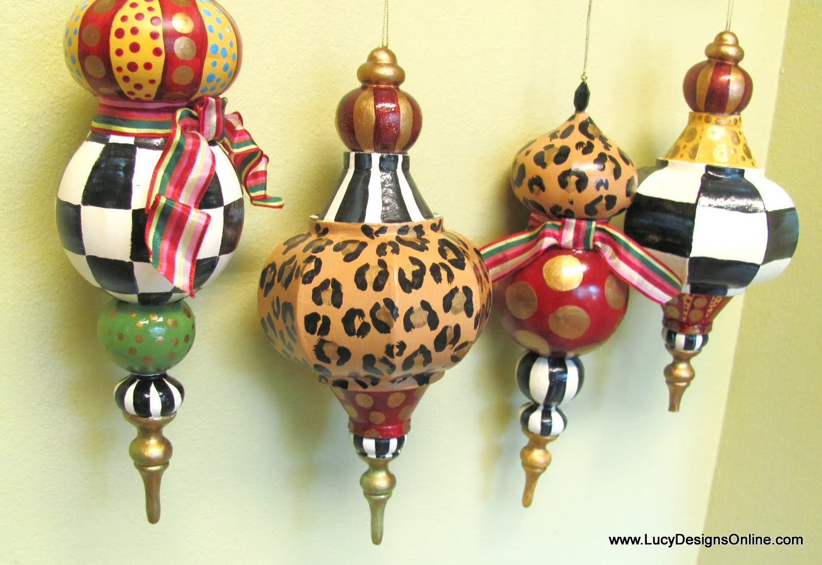 Paper christmas decorations to print - Hand Painted Paper Mache Large Ornaments