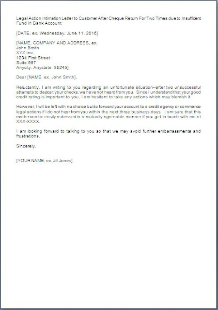 cheque bounce legal action letter
