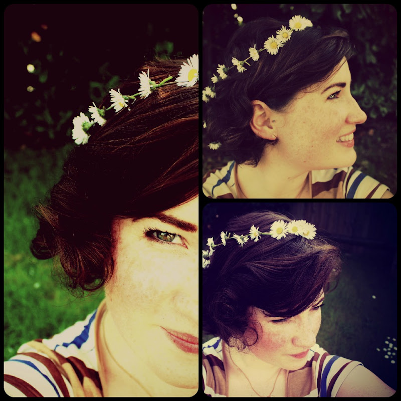 garden making daisy chains. Oh! And I got a new piercingmy tragus title=