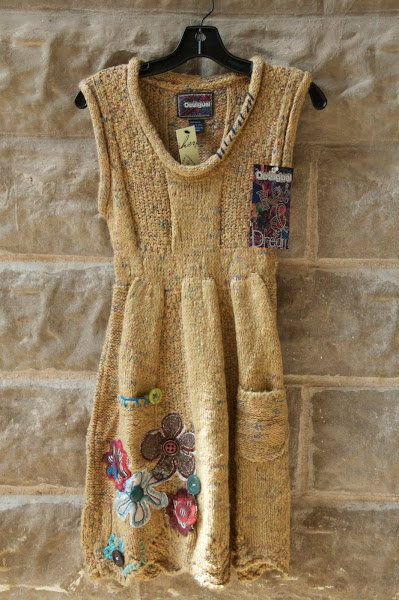 Butter Colored Sweater dress with pockets and embroidery, S-XL,  $136