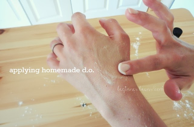 applying homemade deodorant