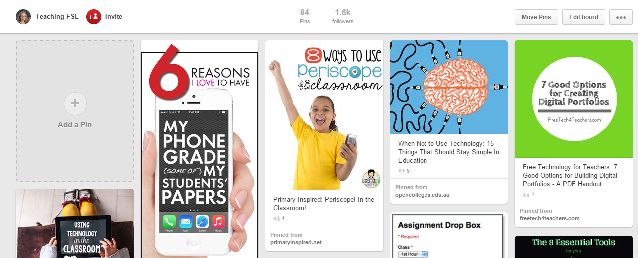 image of Teaching FSL's Pinterest EdTech board