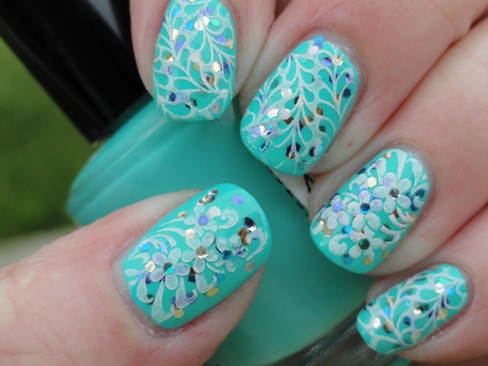 Aqua blue nails nail art ideas prinsesfo Gallery